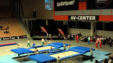 Russian Federation 1 (RUS) - 2015 Trampoline Worlds - Qualification Synchro Routine 1