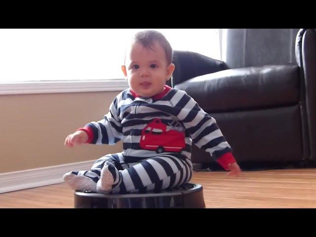 Cute Babies Riding Roomba Compilation 2015 [NEW HD]